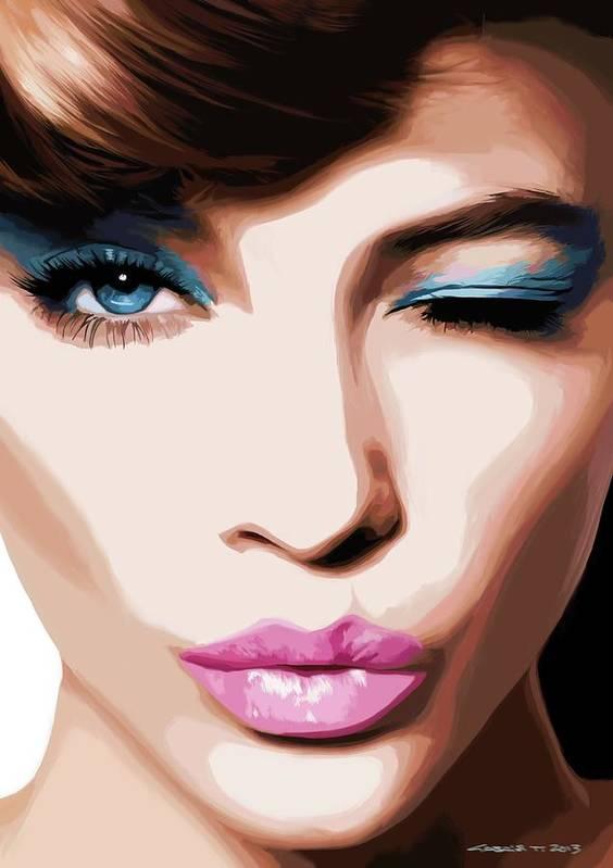 Amazing Girl Art Print featuring the digital art Wink - Pretty Faces Series by Gabriel T Toro