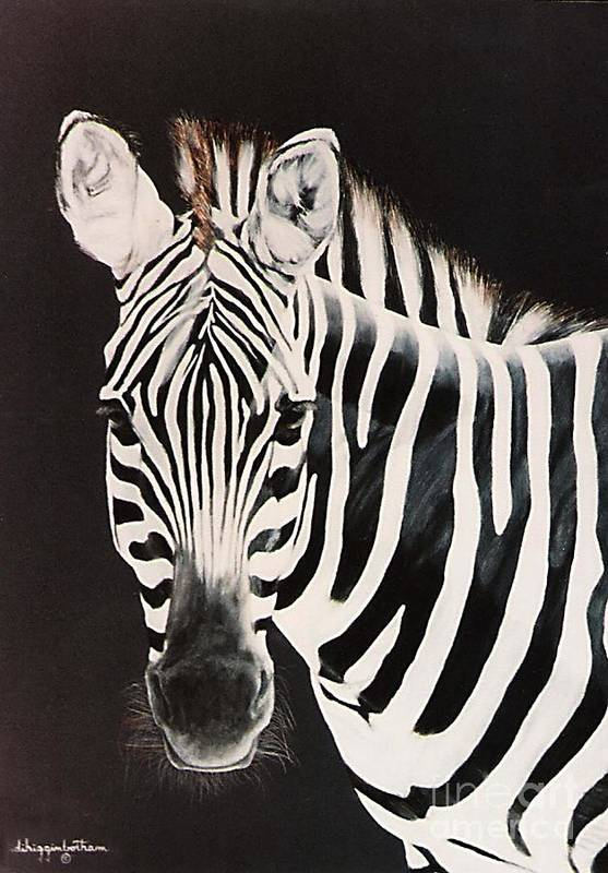 black And White Art Print featuring the painting Zebra facing left by DiDi Higginbotham