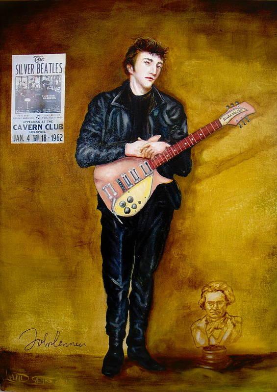 Young John Lennon Silver Beatles Art Print By Leland Castro