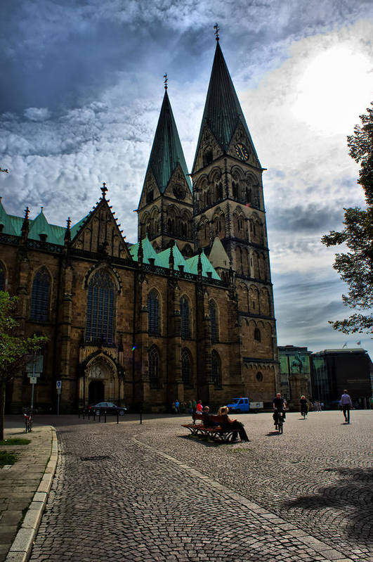 Bremen Art Print featuring the photograph Church in Bremen Germany 2 by Edward Myers