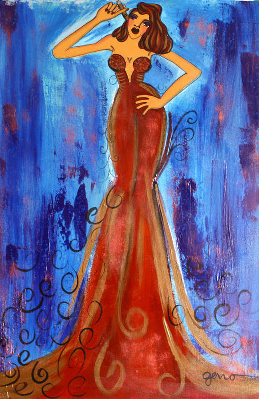 Cigar Art Print featuring the painting Cigar In Red by Helen Gerro