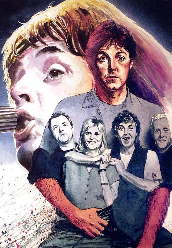 Beatles Art Print featuring the painting Paul McCartney and Wings by Ken Meyer jr