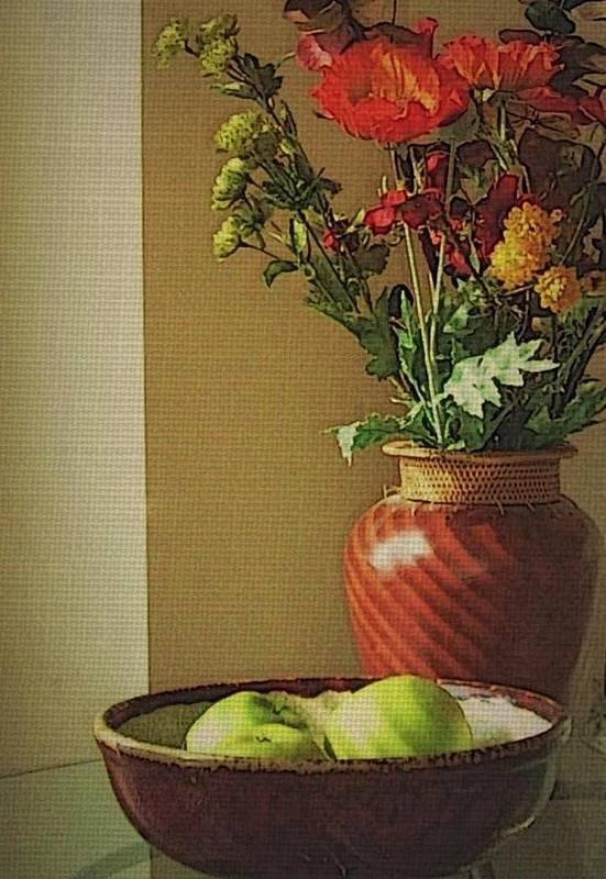 Still Life Art Print featuring the photograph Poppies and apples still life by Joseph Ferguson