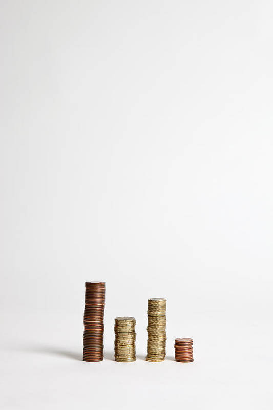 Vertical Art Print featuring the photograph Stacks Of Various European Union Coins by Halfdark