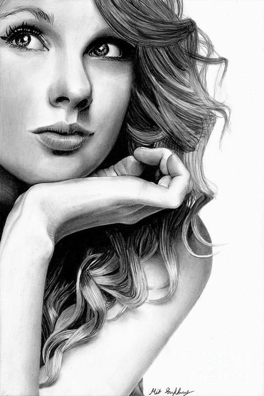Taylor Swift Pencil Drawing Art Print By Michael Gaffney