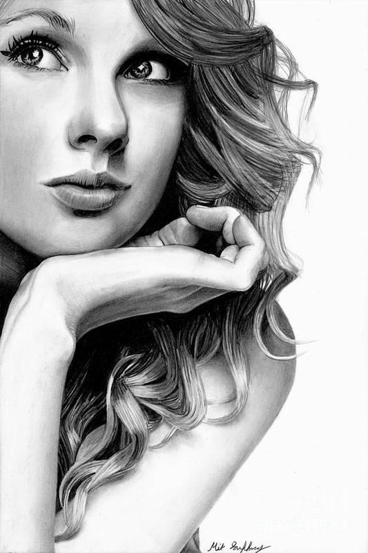 Taylor Swift Pencil Drawing Art Print By Michael Gaffney