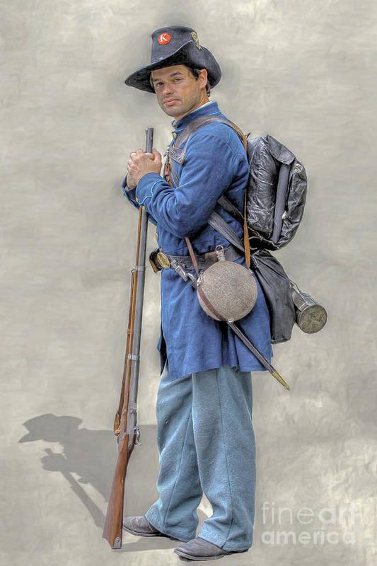 Soldier Art Print featuring the digital art Union Civil War Soldier Black Hats Ver 2 by Randy Steele