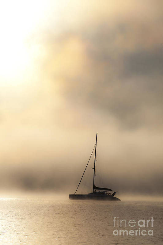 Mist Art Print featuring the photograph Yacht in mist by Sheila Smart Fine Art Photography