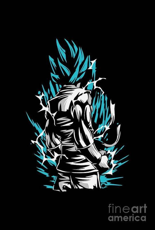 Goku Silluette Dragon Ball Art Print By Aditya Sena