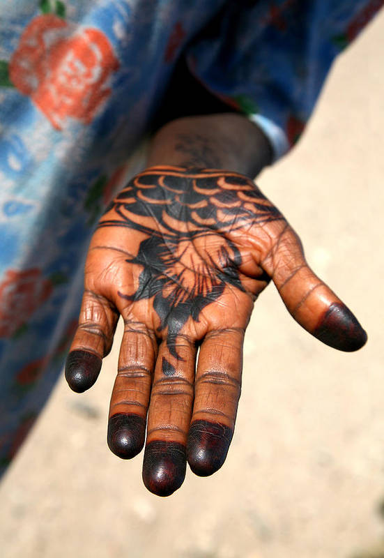 Henna Art Print featuring the photograph Henna Hand by Marcus Best