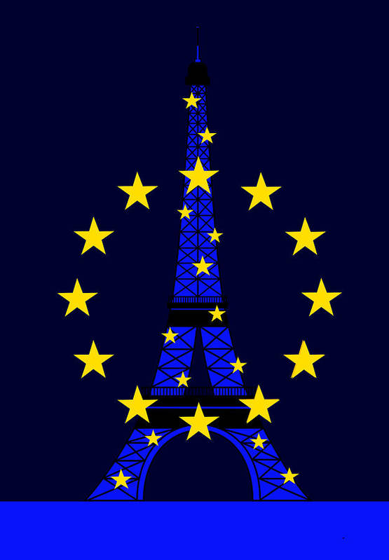 Tour Eiffel Art Print featuring the digital art Inspired by the Eiffel Tower and the European Union by Asbjorn Lonvig
