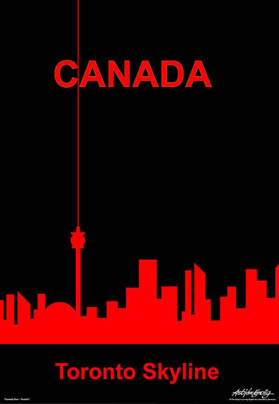 Canada Art Print featuring the digital art Toronto Skyline by Asbjorn Lonvig