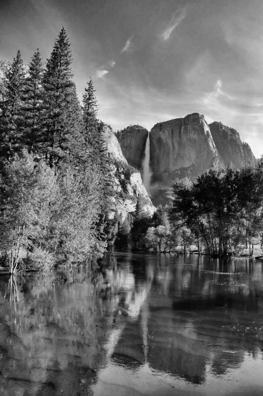 Black And White Art Print featuring the photograph Yosemite Falls Spring Reflections by Stephen Vecchiotti