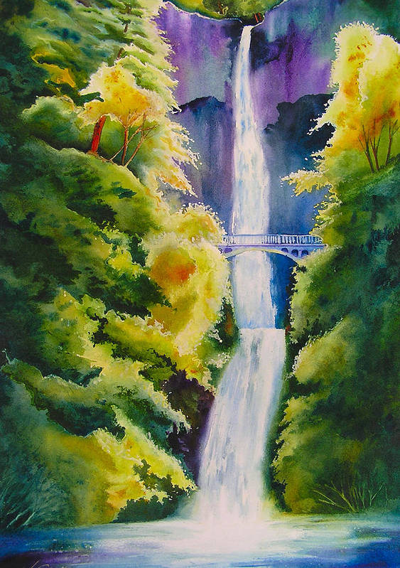 Waterfall Art Print featuring the painting A Favorite Place by Karen Stark