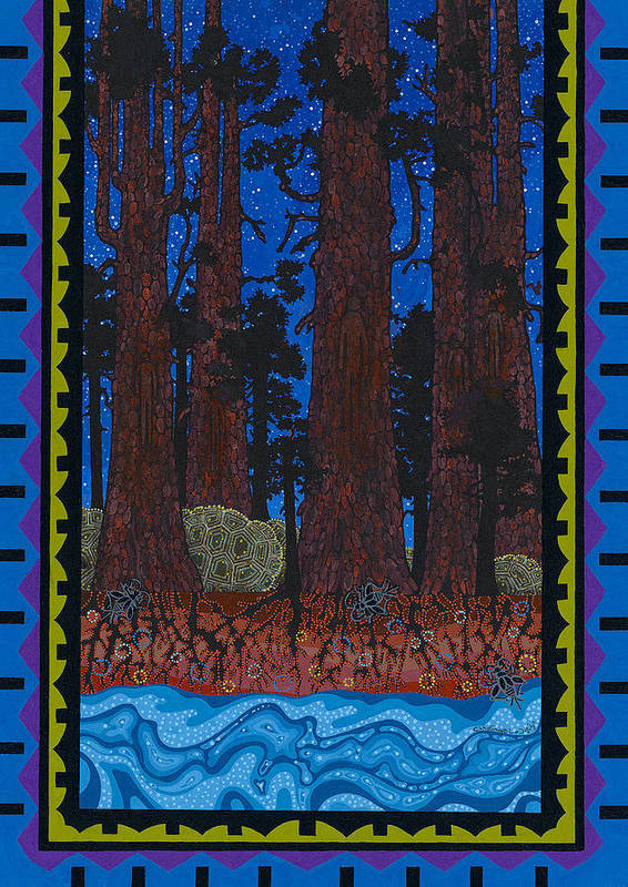 Native American Art Print featuring the painting A Forest Whispers by Chholing Taha