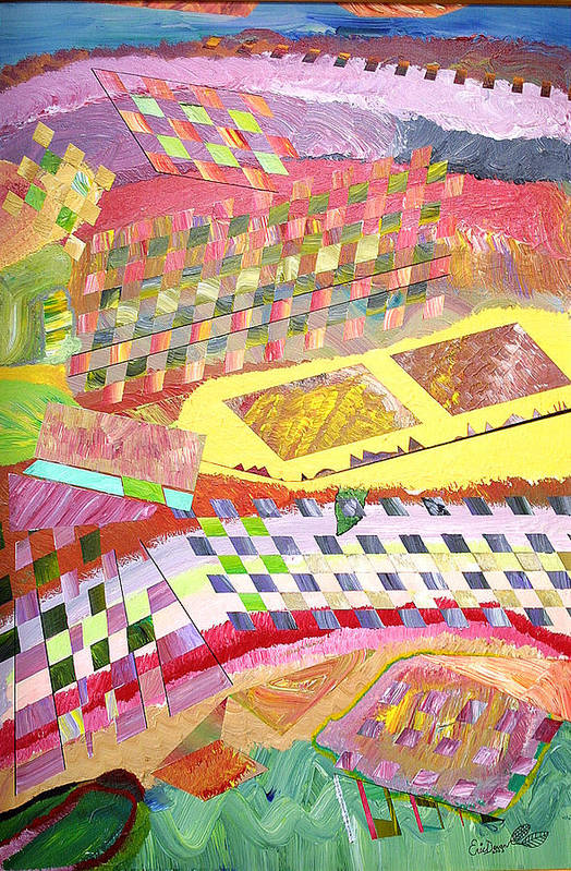 Crops Art Print featuring the painting A View From Above by Eric Devan