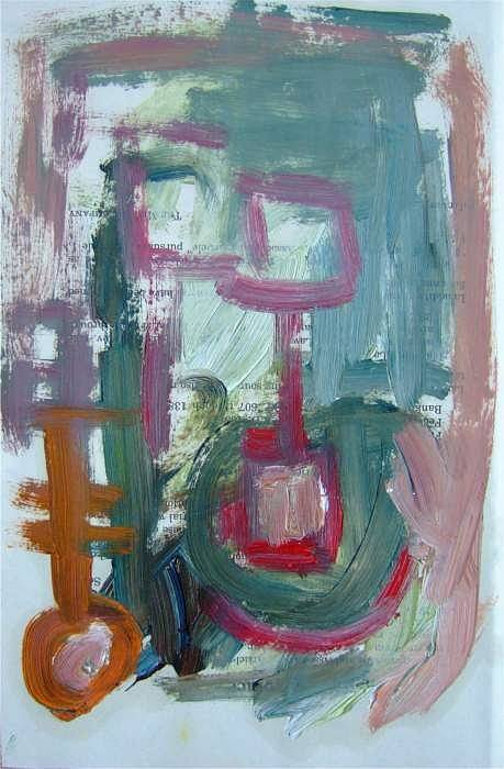 Abstract Art Art Print featuring the painting Abstract On Paper No. 8 by Michael Henderson
