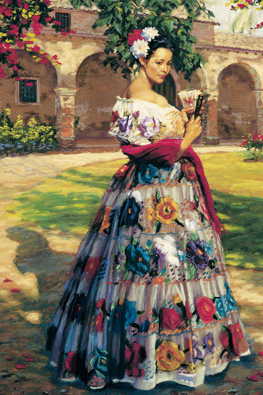 Woman Elaborately Embroidered Mexican Dress. Background Mission San Juan Capistrano. Art Print featuring the painting Al Aire Libre by Jean Hildebrant