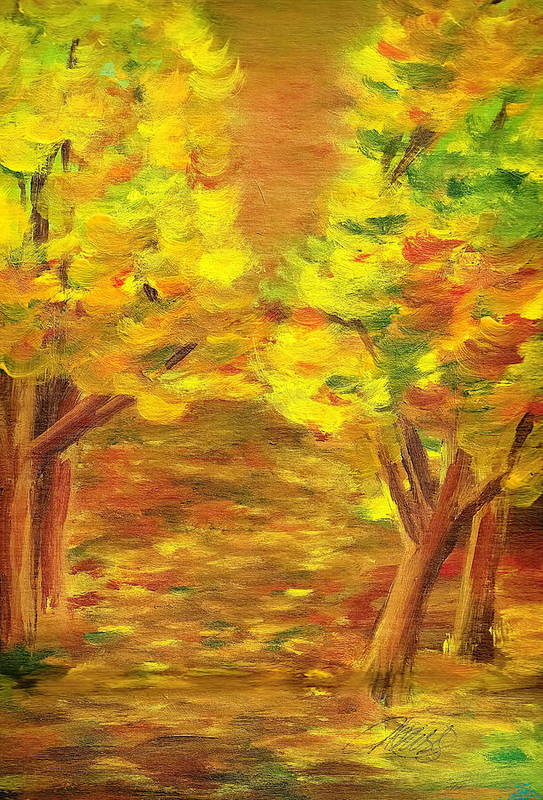 Landscape Art Print featuring the painting Aldergrove Lake Park by Vi Mosley
