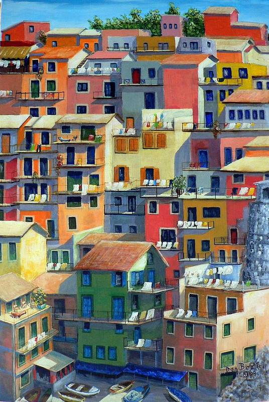 Manarola Art Print featuring the painting An Italian Village by Dan Bozich