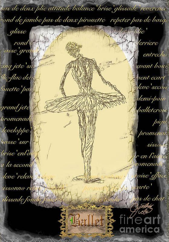 Ballet Art Print featuring the digital art Antique Ballet by Cynthia Sorensen