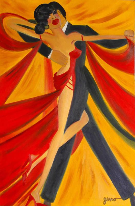 Ballroom Dancing Art Print featuring the painting Ballroom Dancing Tango by Helen Gerro