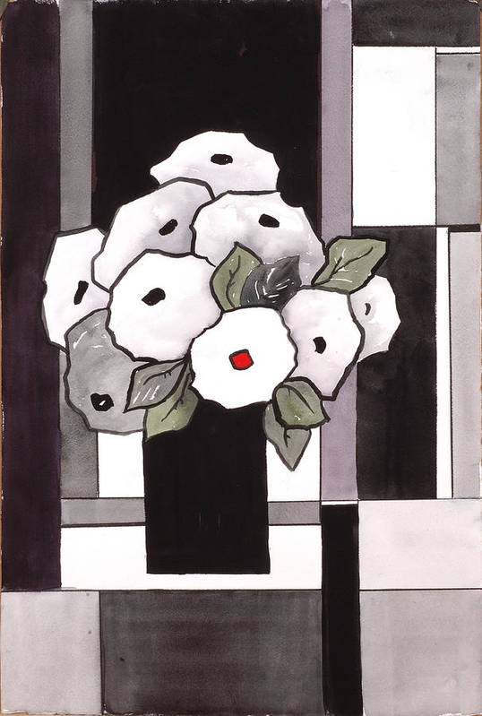 Painting Art Print featuring the painting Black and White Funny Flowers by Carrie Allbritton