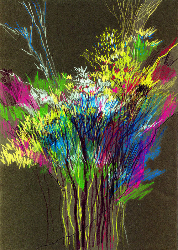 Flowers Art Print featuring the painting Bouquet by Anil Nene