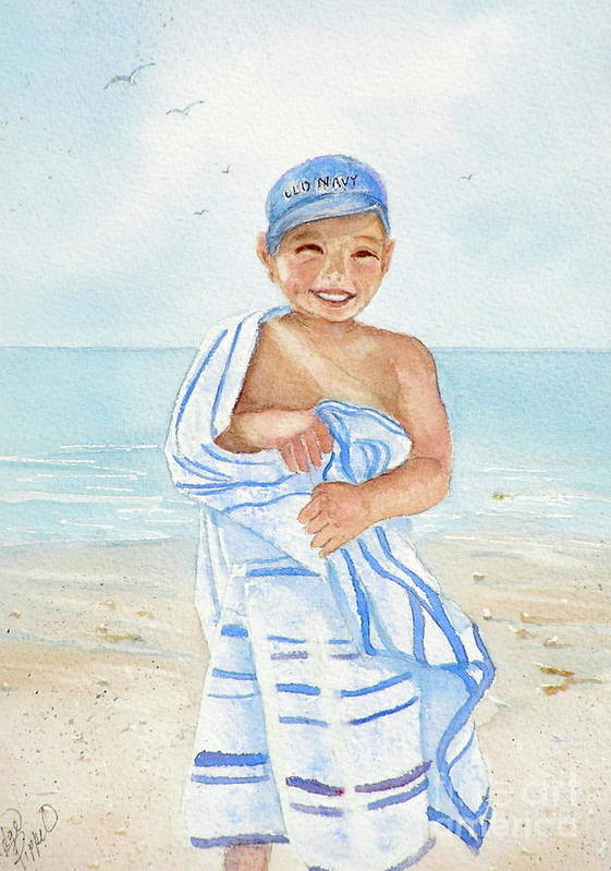 Boy Art Print featuring the painting Boy At The Beach by Midge Pippel