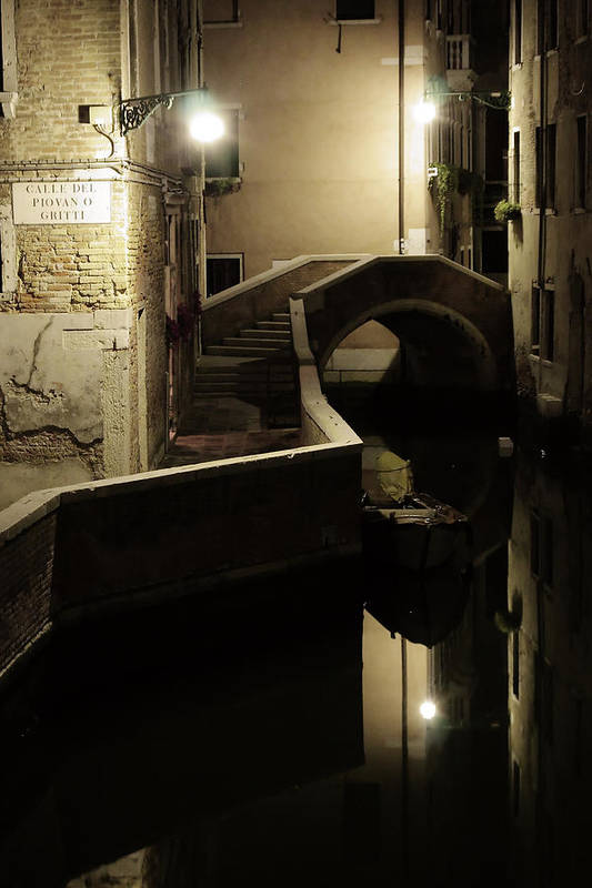 Venice Art Print featuring the photograph Bridge and Canal in Venice at Night by Michael Henderson