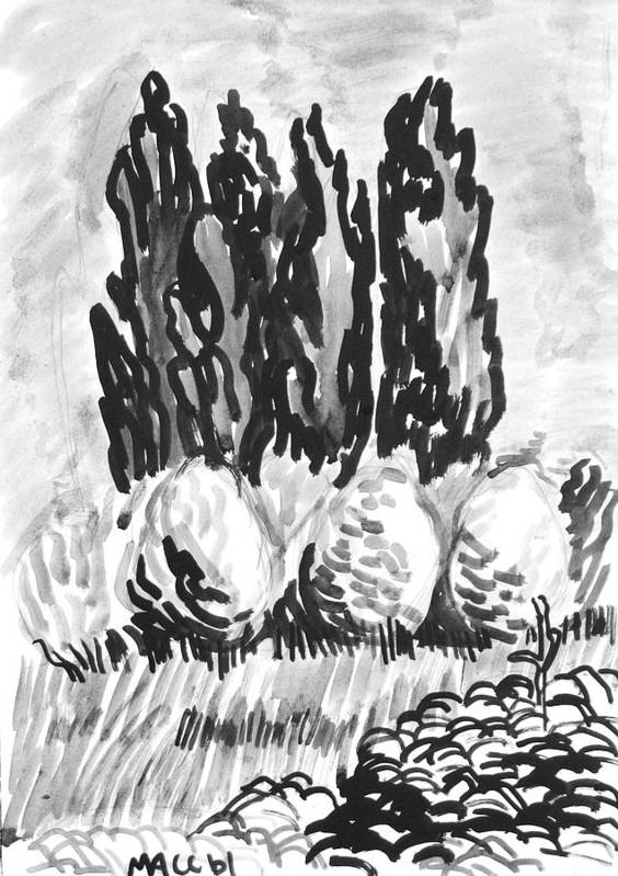 Trees Art Print featuring the drawing Bulk of green by Vitali Komarov