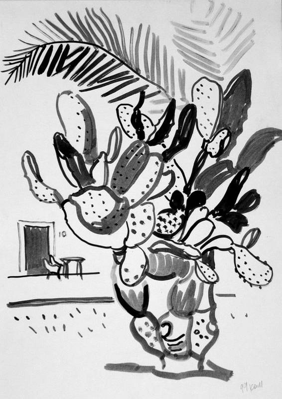 Cactus Art Print featuring the drawing Cactus and palm by Vitali Komarov