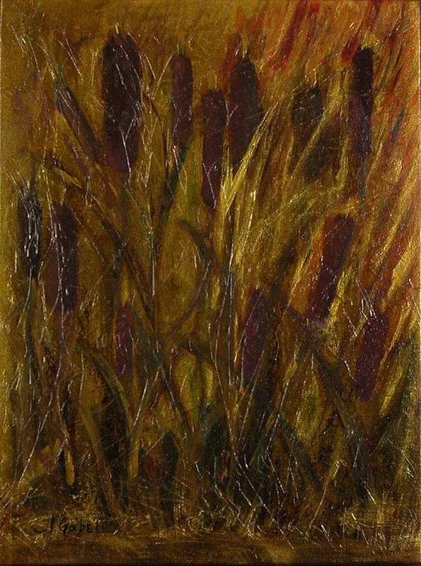Acrylic Art Print featuring the painting Cattails 1 by Laura Gabel