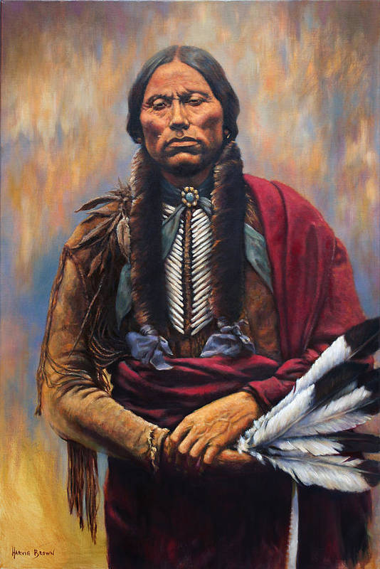 Indian Chief Art Print featuring the painting Chief Quanah by Harvie Brown