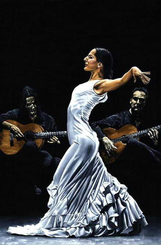 Flamenco Art Print featuring the painting Concentracion del Funcionamiento del Flamenco by Richard Young