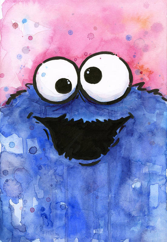 Cookie Art Print featuring the painting Cookie Monster by Olga Shvartsur