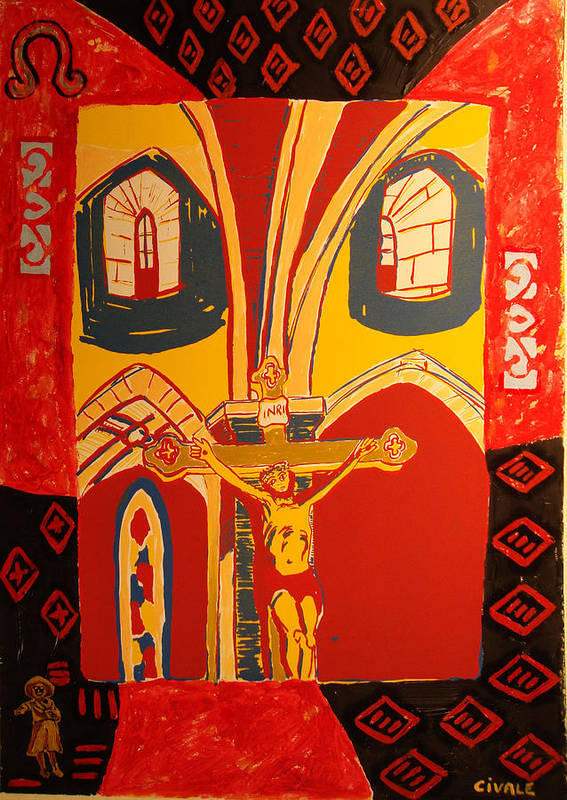 Art Print featuring the painting Crucifixion at Vic with colors by Biagio Civale