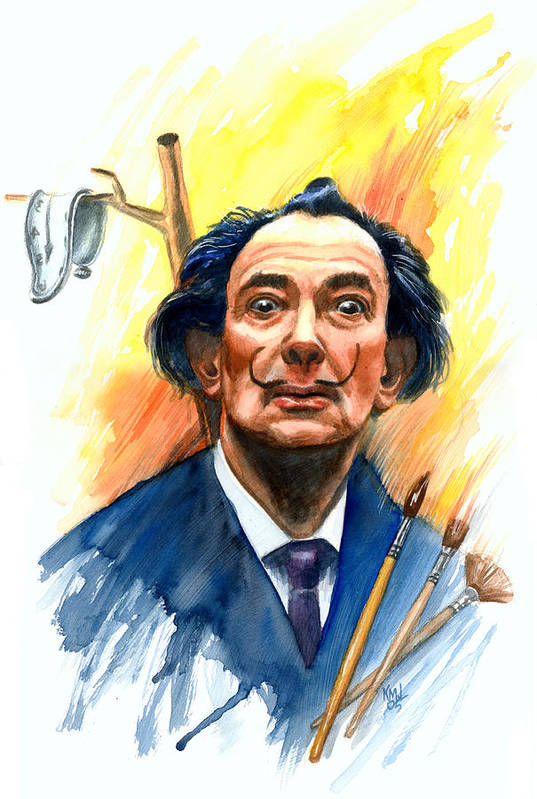 Salvador Dali Art Print featuring the painting Dali by Ken Meyer jr