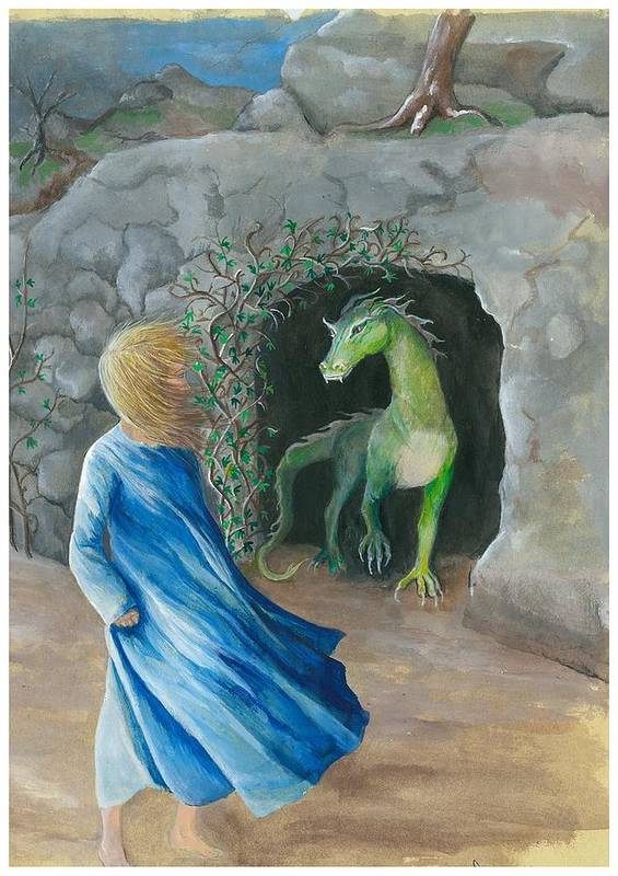 Dragon Art Print featuring the painting Dragon Princess 1 by Sally Balfany