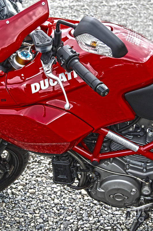 Diane Berry Art Print featuring the photograph Ducati Red by Diane E Berry
