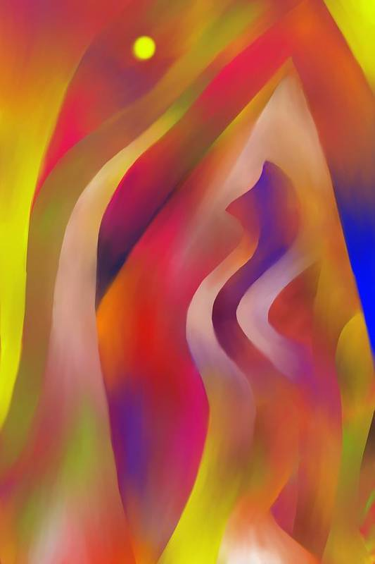 Colorful Art Print featuring the digital art Evening Sunset by Peter Shor