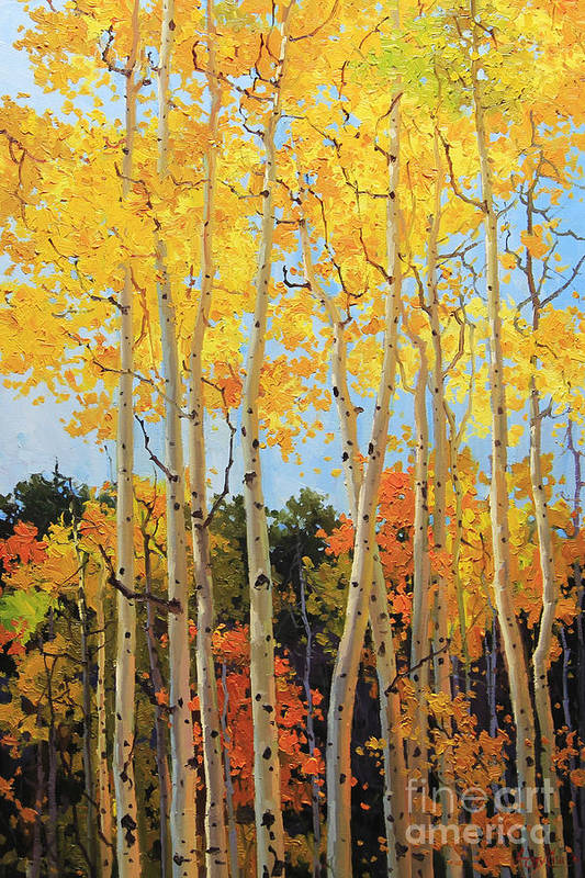 Nature Art Print featuring the painting Fall Aspen Santa Fe by Gary Kim