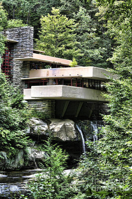 Frank Lloyd Wright Art Print featuring the photograph Falling Water VII by Chuck Kuhn
