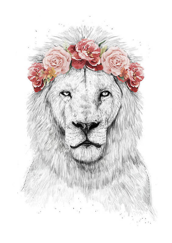 Lion Art Print featuring the drawing Festival lion by Balazs Solti