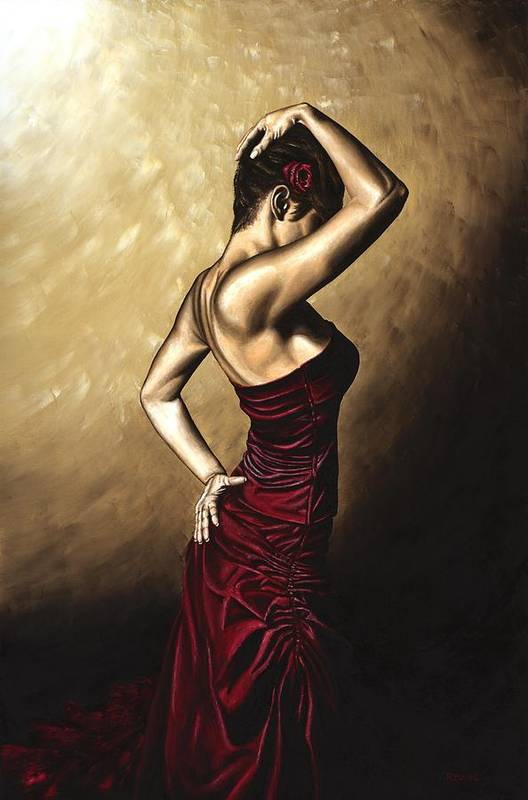 Flamenco Art Print featuring the painting Flamenco Woman by Richard Young