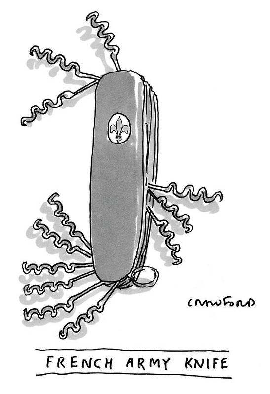 Swiss Army Knife Art Print featuring the drawing French Army Knife by Michael Crawford