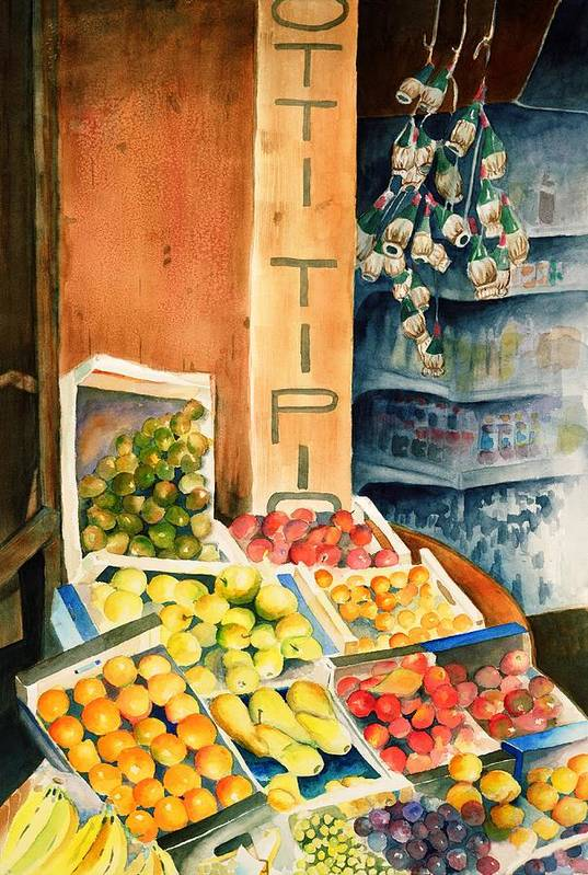Fruit Shop Window Art Print featuring the painting Fruit Shop in San Gimignano by Judy Swerlick
