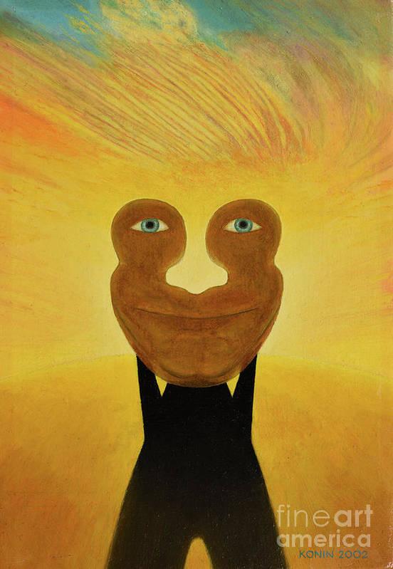 Face Art Print featuring the painting Gemini. Self-portrait by Oleg Konin