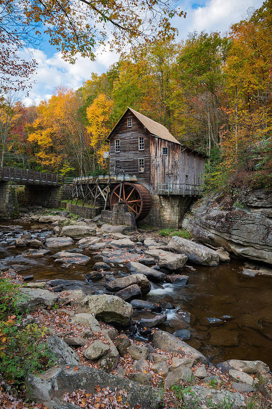 Glade Creek Grist Mill Art Print featuring the photograph Glade Creek Grist Mill Babcock State Park by Rick Dunnuck