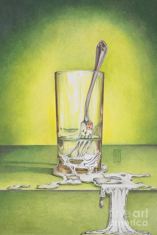 Bizarre Art Print featuring the painting Glass with Melting Fork by Melissa A Benson